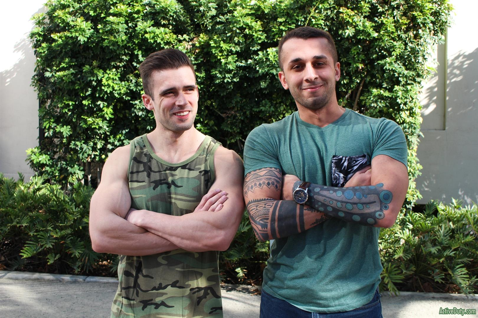 Active-Duty-Mathias-and-Laith-Inkley-Naked-Marines-Bareback-Sex-Video-01 Muscular Marines First Time Bareback Sex Video